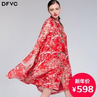 中国风红色印花蚕丝亚麻连衣裙