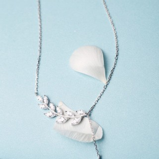 925纯银树叶水滴项链