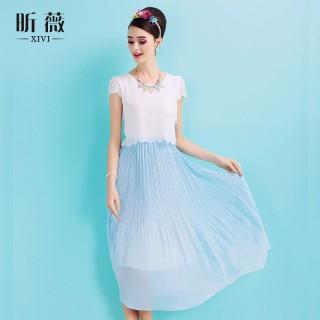 裙子 甜美荷叶领灯笼袖圆点蕾丝雪纺连衣裙