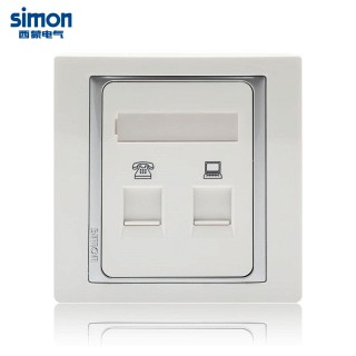 2折/【simon西蒙】58系列电话加电脑网线信息插座