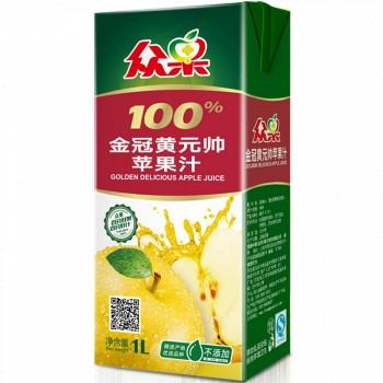 苏宁易购众果 100%金冠黄元帅苹果汁 1L*4盒(礼品装)