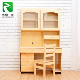 实木书桌带书架组合