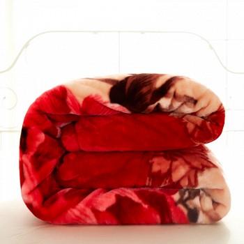 京东商城红瑞 双层加厚拉舍尔毛毯子 200*230cm 花语情
