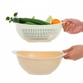 京东商城Citylong禧天龙 塑料沥水篮洗菜篮圆形水果盘双层