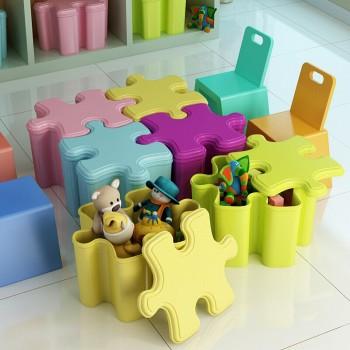 京东商城帅力 糖果色PP塑料收纳盒拼插储物凳子