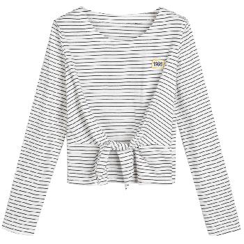 天猫七格格 2017新款甜美学院风绑带条纹T恤
