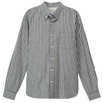 天猫MUJI无印良品 男式棉靛蓝染条纹纽扣领衬衫