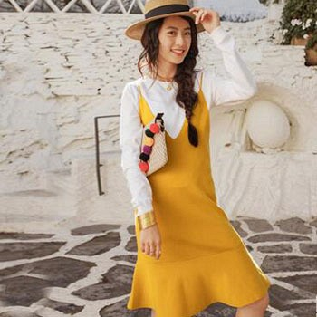 天猫茵曼 春新款文艺长袖针织衫吊带连衣裙两件套