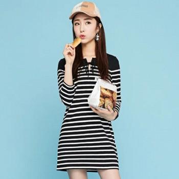 当当网商城 拉夏贝尔 黑白条纹廓形七分袖连衣裙59.7元
