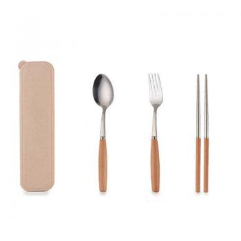 京东商城拾光大猫 中式榉木木柄不锈钢餐具 筷+勺+叉+小麦盒