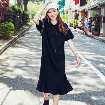 天猫韩都衣舍 女装夏装韩版显瘦荷叶边中长款连衣裙