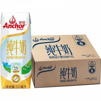 京东商城安佳 全脂纯牛奶 UHT 250ml*24盒 *4件
