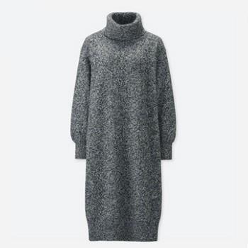 天猫UNIQLO 优衣库 409079 柔软羊仔毛两翻领连衣裙
