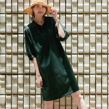 天猫14日0点:UNIQLO 优衣库  女士丝光棉抽褶连衣裙