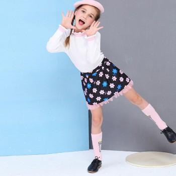 苏宁易购小猪班纳 中大童2018秋冬甜美百搭童樽领长袖衫