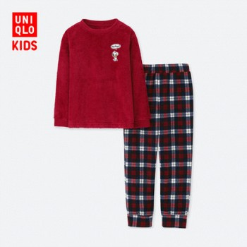 UNIQLO 优衣库 412832 儿童PEANUTS摇粒绒起居套装