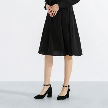 京东商城热风 粗跟铆钉女士高跟单鞋