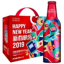 百威啤酒 新年限量版铝瓶 355ml*6瓶 *2件