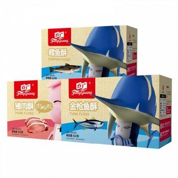 京东商城PLUS会员: FangGuang 方广 含钙与DHA肉松肉酥组合(原味猪肉+金枪鱼+鳕鱼)84g*3盒 *3件