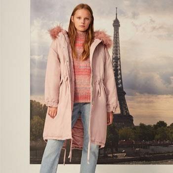 天猫Bershka 女士2018新款粉色工装中长款派克棉服
