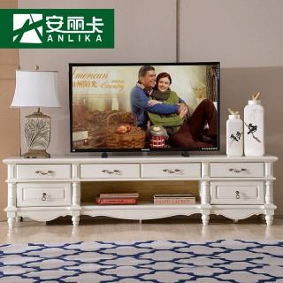 歐式田園實木電視柜簡歐風格客廳地柜茶幾組合簡美