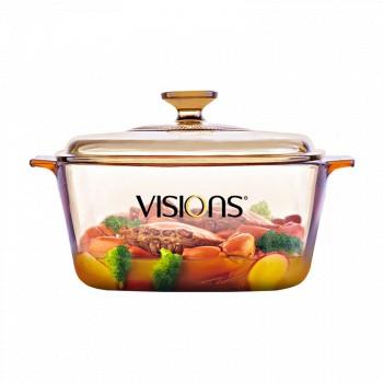 Visions康宁 晶彩透明锅方锅 炖汤煲3L