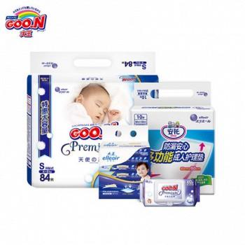 GOO.N 大王 天使系列 婴儿纸尿裤 S84片+湿巾60抽+面巾纸40抽*6包+产褥垫 1包