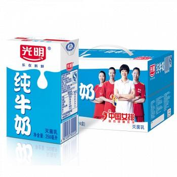 新補貨_|: 光明 純牛奶 250ml*24盒/箱 *4件